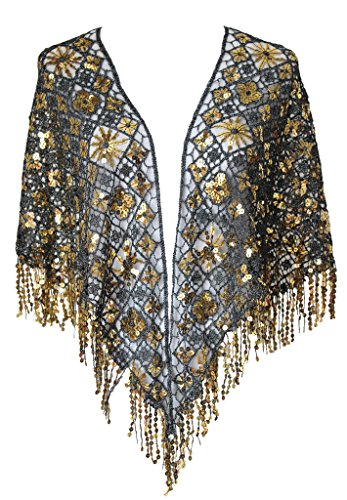 Alivila.Y Fashion Womens Triangle Ruffle Sequins Wedding Scarf Shawls -