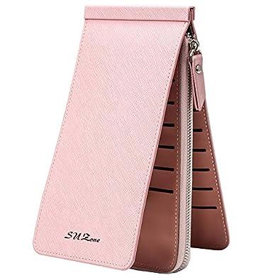 a2147818f33b Amazon   カードケース 薄型 大容量 長財布 三つ折り 男女兼用 小銭入れ 紙幣入れ 携帯収納 PUレザー カード26枚収納 pink    クレジットカードケース