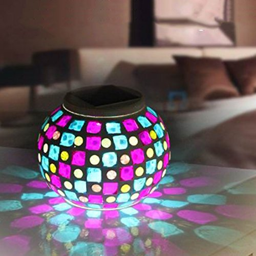 Mosaic Solar Lamp, Tmore Glass Ball Mosaic Table Lights LED Color Changing Outdoor Garden Lights Solar Night Lights for Party Patio Decoration