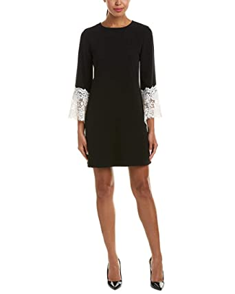 32603bcf Tahari by ASL Women's Sheath Dress with Lace Detail on Sleeve Black/Ivory 2  at Amazon Women's Clothing store: