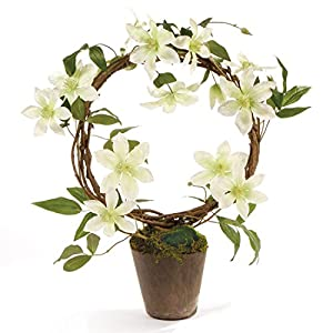 """CC Home Furnishings 22"""" Off-White Artificial Clematis Potted Floral Wreath 17"""