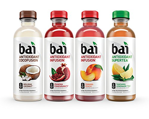 Bai Mountainside Variety Pack, Antioxidant Infused Beverage, 18 Fluid Ounce Bottles, 12 count, (3 bottles each of Tanzania Lemonade Tea, Ipanema Pomegranate, Molokai Coconut, Panama Peach) (Coconut Strawberry Tea)