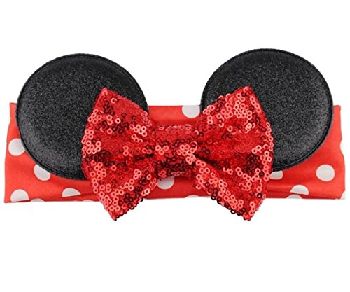 Minnie Mouse Inspired Elastic Headwrap Headband With Sequin Bow for Baby And Toddlers (Red Sequin Bow w/Red Polka Dot Band)