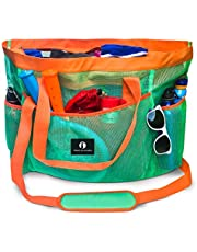 Red Suricata Large Mesh Beach Bag – Mesh Beach Tote Bag with Pockets - Beach Bags and Totes for Women with Zipper & 7 Large Elastic Pockets for Beach Accessories - Water Aerobics Bag (Turquoise / Orange)