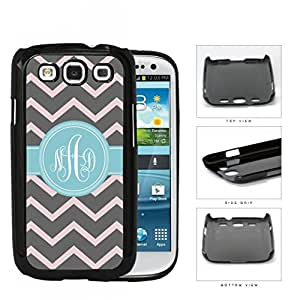 Gray And Pink Chevron With Light Blue Monogram (Custom Initials) Hard Plastic Snap On Cell Phone Case Samsung Galaxy S3 SIII I9300