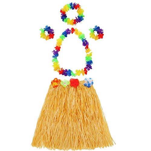 Bracelet Rope Fancy (Hula Grass Skirt with Flower Leis Costume Set Including Elastic Luau Grass,Hawaiian Flower Bracelets,Headband,Necklace Set,Colorful)