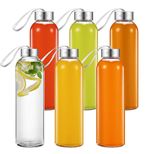 Aicook Glass Water Bottles, 6 Pack, 18 Oz Glass...