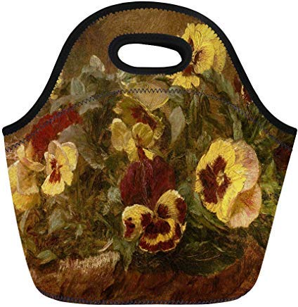 Latour Fantin Painting - Vontuxe Insulated Lunch Tote Bag Pansies By Henri Fantin Latour 1903 French Impressionist Painting Outdoor Picnic Food Handbag Lunch Box for Men Women Children