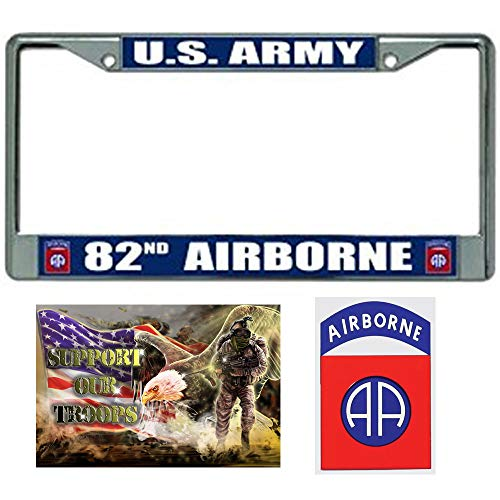 82nd Airborne License Plate Frame Military Gift Bundle with 82nd Airborne Decal and Support Our Troops Sticker/Decal