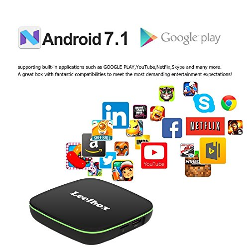2018 Version Leelbox Q1 Android 7.1 TV Box with BT 4.0 Supporting 4K (60Hz) Full HD /H.265 /WiFi Smart TV Box