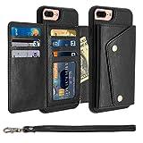 iPhone 8 Plus Case, iPhone 8 Plus Card Holder Case,Premium PU Folio Flip iPhone 7 Plus Wallet Case with Credit Card Slots Shock-Absorbing Protective Case for iPhone 7Plus/8Plus(iPhone 8 Plus, Black)
