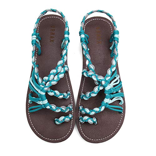URRAX Flat Sandals for Women Braided Strap Beach Shoes 18ZD003-W7-8 Dark Green