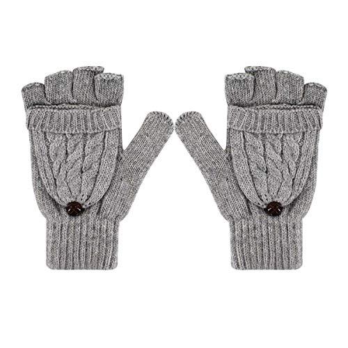 Danse Jupe Women Winter Faux Cashmere Convertible Fingerless Knit Mittens Gloves With Fold-Back Finger Caps