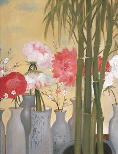 Oil Painting 'Flowers In The Vase And Bamboos', 18 x 23 inch / 46 x 60 cm , on High Definition HD canvas prints is for Gifts And Foyer, Gym - Shopping Westland Center