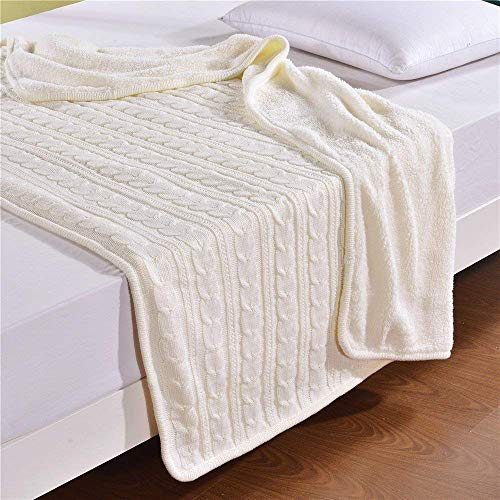 MisDress Cable Knit Sherpa Throw Blanket Thick and Reversible Fleece Sweater Blanket Super Soft Cozy Sofa\Couch\Air Conditioning Blankets White 59