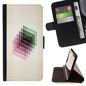 For HTC One M9 Case , 3D dimensional Polígono de cristal reflectante- la tarjeta de Crédito Slots PU Funda de cuero Monedero caso cubierta de piel
