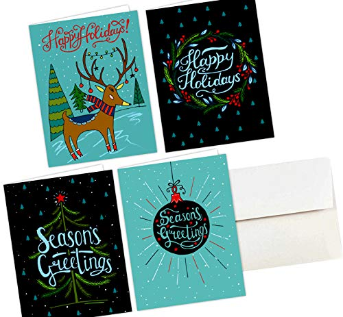 36 Christmas Cards & Envelopes, Happy Holiday Cards - One Jade Lane - Merry Holiday, Seasons Greetings Cards, 5.5x8.5 (5.5x4.25 folded), Scored for EZ Folding. (Christmas Seasons Cards Greetings)