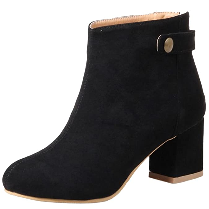 Amazon.com | TAOFFEN Women Vintage Winter Warm Booties Ankle High Block Heel | Ankle & Bootie
