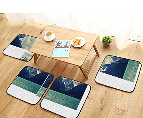 - Printsonne Modern Chair Cushions mNorthern Norway Mountains and Atlantic Coastline Fishing Harbor Convenient Safety and Hygiene W23.5 x L23.5/4PCS Set