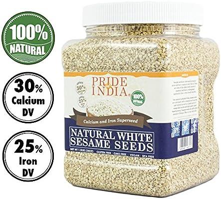 El orgullo de la India - Blanco semillas de sésamo sin pelar - El calcio y hierro súper, 1,25 libra (567 g) Jar -semillas sin pelar de sésamo blanco - ...