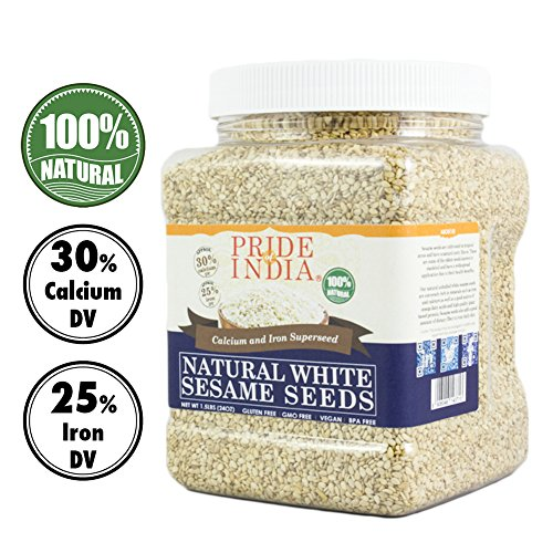 Pride Of India - White Sesame Seeds Unhulled - Calcium & Iron Superfood, 1.25 Pound (20oz) Jar