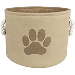"""Bone Dry DII Medium Round Pet Toy and Accessory Storage Bin, 14.5""""(Dia) x12(H), Collapsible Organizer Storage Basket for Home Décor, Pet Toy, Blankets, Leashes and Food-Taupe with Brown Paw"""