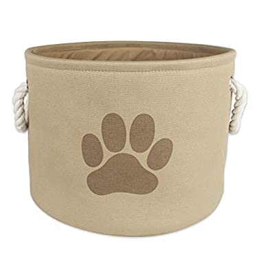 Bone Dry DII Pet Toy and Accessory Round Storage Basket, Taupe, 12 X 14.5