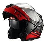 Traiangle Motorcycle Helmets Modular Dual Visor Flip Up (Medium, Matte Black/Red)