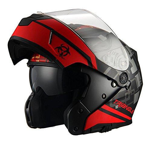 Traiangle Motorcycle Helmets Modular Dual Visor Flip Up (Large, Matte Black/Red) ()