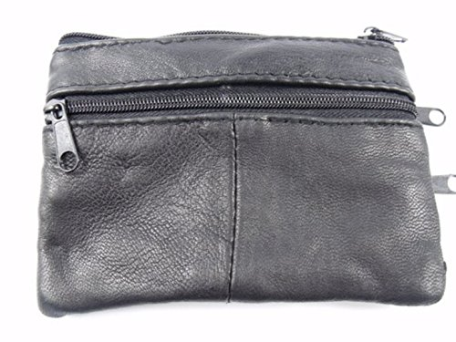 Purse Soft Soft Holder Zips 4 Key Leather Black Black gwq8Rw7U