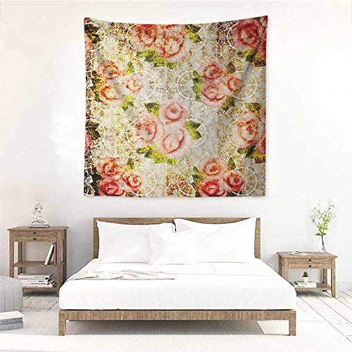 (Willsd Rose high-end Quality Tapestry Grunge Psychedelic Artsy Floral Motif with Dated Retro Dark Lace Boho Patterns Literary Small Fresh 55W x 55L INCH Pink Green Cream)