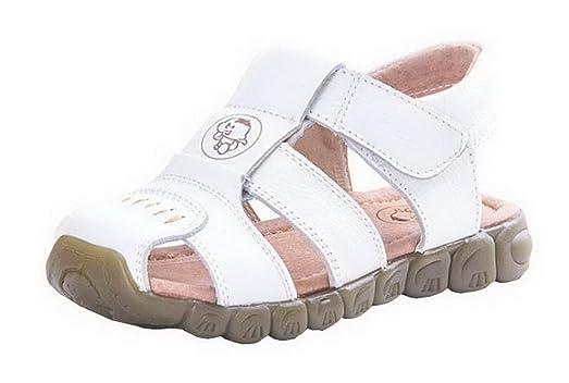 Evedaily Sandales Chaussures de Marche Mixte Enfant Sandales Souple Bout  Fermé En Cuir Blanc