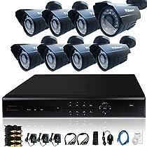iSmart 16 Channel D1 DVR Kit including 8 800TVL Bullet Security Camera System D6016DH+C1030DP8