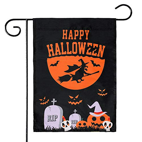 """KissDate Double Sided Happy Halloween Garden Flag with Spooky Pumpkin Witch RIP Tombstone Patterns, Perfect for Outdoor Garden Yard Decoration (12.5"""" x 18"""")"""