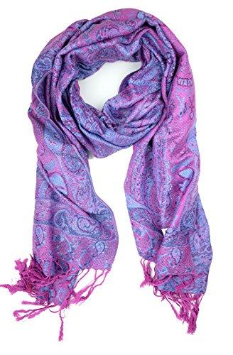 (Plum Feathers Tapestry Ethnic Paisley Pattern Pashmina Scarf (Purple))