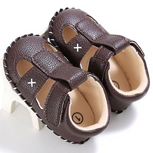 Juleya Niño recién nacido Muchachas Muchachas que caminan primero Solf Sole Sandalias antideslizantes Black 12-18M marrón