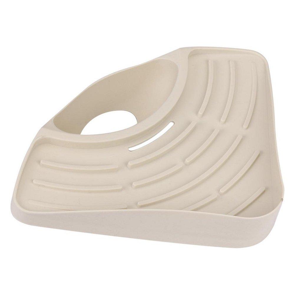 Storage Rack(27×19×5.5CM) ,Tuscom Bathroom Kitchen Sink Corner Storage Soap Tool Rack Sponge Holder Suction Cup (Khaki) by Tuscom (Image #3)