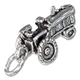 Sterling Silver Antiqued Three Dimensional Farm Tractor Charm