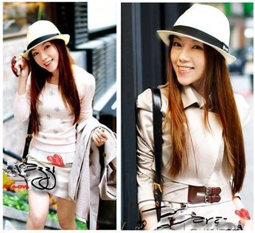 Eozyおしゃれ ユニセックス帽子 サマービーチキャップ UV麦わら帽子 紫外線対策 帽子メンズ レディース 無地ポークパイ帽子ZDS (1 White)