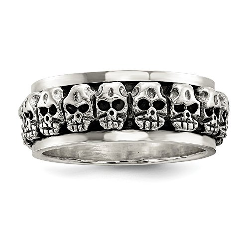 925 Sterling Silver Spinning Center Skull Band Ring