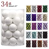 KI Store 34ct Christmas Ball Ornaments Shatterproof Christmas Decorations Tree Balls Small for Holiday Wedding Party Decoration, Tree Ornaments Hooks Included 1.57' (40mm White)