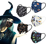 Disposable Face Masks with Lace Flower Leopard Happy Halloween Design,50 Pack