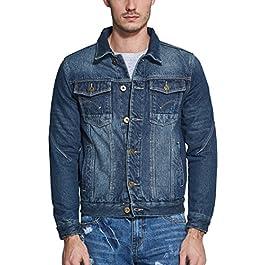 SSLR Men's Winter Rugged Fleece Lined Denim Jackets Coat