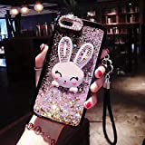 Liquid Case for XiaoMi Mi 6X, Case Sequins for XiaoMi Mi 6X, SevenPanda Bunny Cartoon 3D Rubber Quicksand Bling Glitter Case for Girls with Pendant Ring Stand Holder & Crystal Neck Lanyard - Pink