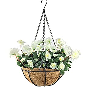 Lopkey Outdoor Artificial Red Azalea Bush Flower Patio Lawn Garden Hanging Basket Chain Flowerpot 46