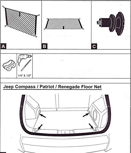 Envelope Floor Trunk Cargo Nets for Jeep Compass Jeep Patriot Jeep Renegade