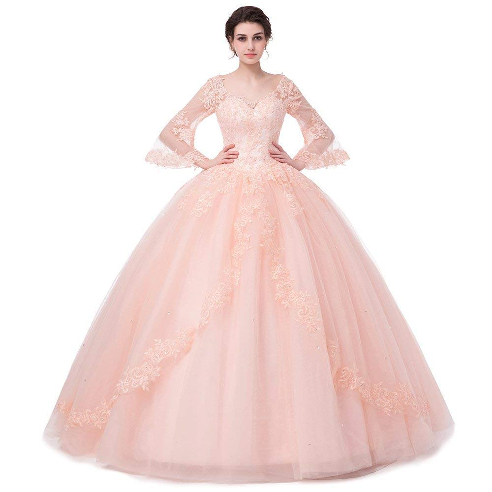 Light Pink APXPF Women's Full Sleeves Lace Quinceanera Dresses Formal Prom Party Gown
