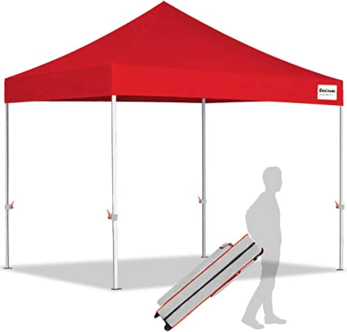 EliteShade 10 x10 Ez Pop Up Canopy Tent Commercial Instant Canopies with Heavy Duty Roller Bag,Bonus 1 Removable Sunwall Red