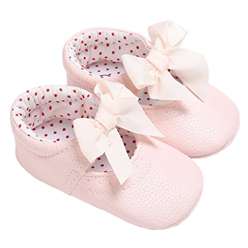 (LINKEY Baby Girls Mary Jane with Bowknot Princess Dress Shoes Crib Shoes for Photos Pink Size S)