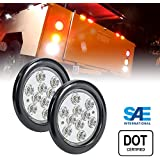 2pc OLS 4 Inch Round LED Trailer Tail Lights - WHITE Reverse Back up Trailer Lights for RV Trucks (DOT Certified, Grommet & Plug Included)